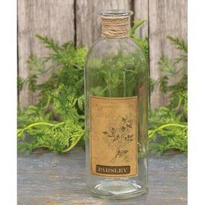 Parsley Rustic Style Glass Bottle